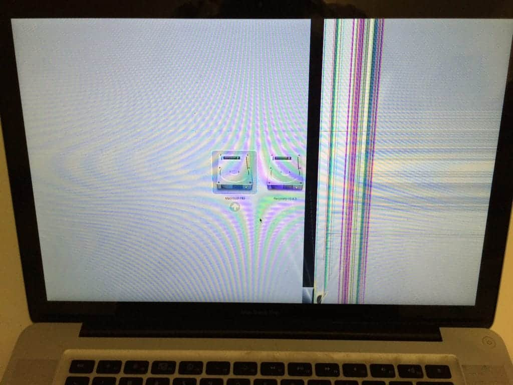 MacBook Pro with cracked LCD
