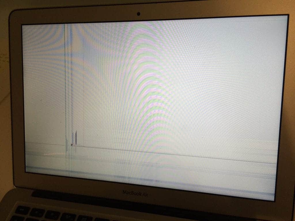 Lines on screen from cracked LCD. MacBook Air.