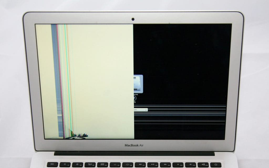 "This 13"" MacBook air took a hit to the bottom left that cause half the display to show white instead of the age. lines are also viewable on the left side going vertically as well as about 2/3 of the way to the bottom of the display."