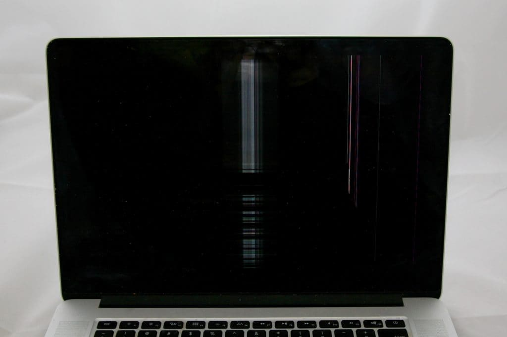MacBook Pro Retina Display Damage with only lines visible while the rest of the screen remains dark